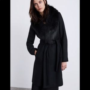 Zara wool belted coat with removable faux fur